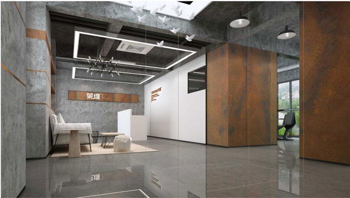 1500平方跃层办公室前台设计方案效果图