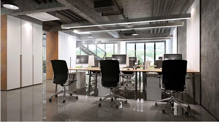 1500平方跃层办公室一层办公区域设计方案效果图