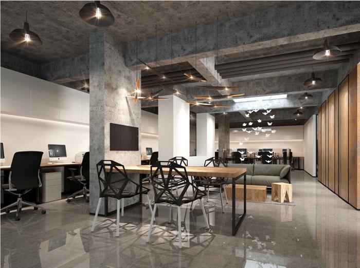 1500平方跃层办公室二层办公区域设计方案效果图