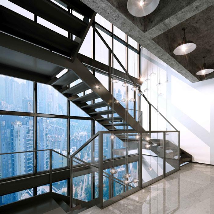 1500平方跃层办公室楼梯区域设计方案效果图