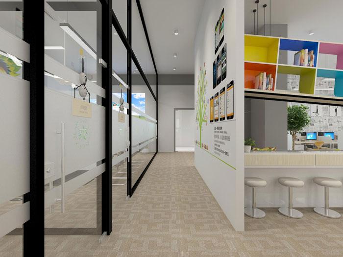 500平方现代简约风格办公室过道装修设计案例效果图