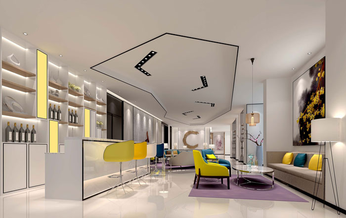 600平方现代简约风格办公室前台装修设计案例效果图