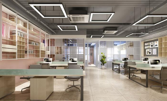 400平方服装公司办公室办公区域软装设计效果图
