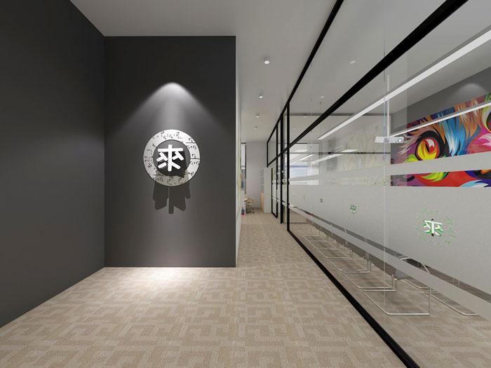 350平方APP设计公司办公室前台软装设计方案效果图