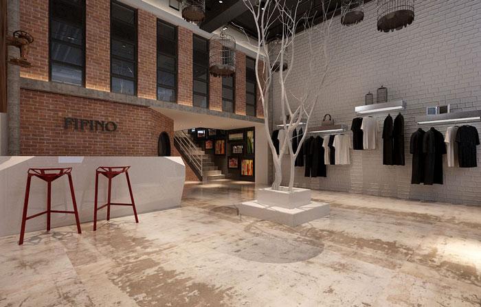 500平方服装公司办公室前台区域软装设计效果图