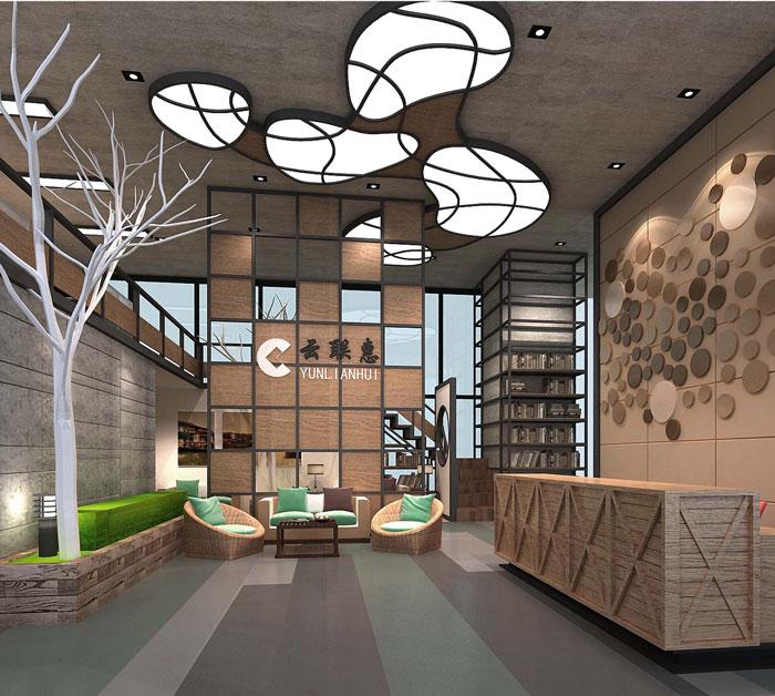1000平方电子商务办公室前台大厅软装设计效果图