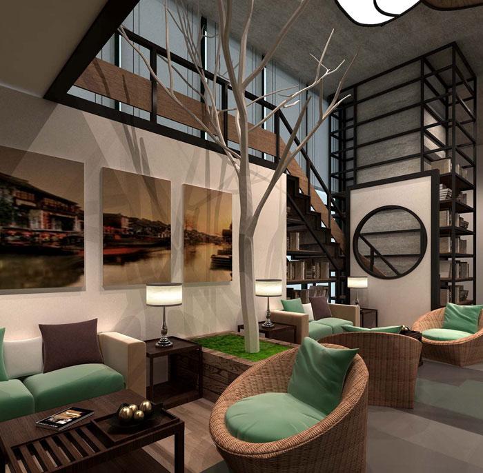 1000平方电子商务办公室休息区域软装设计效果图