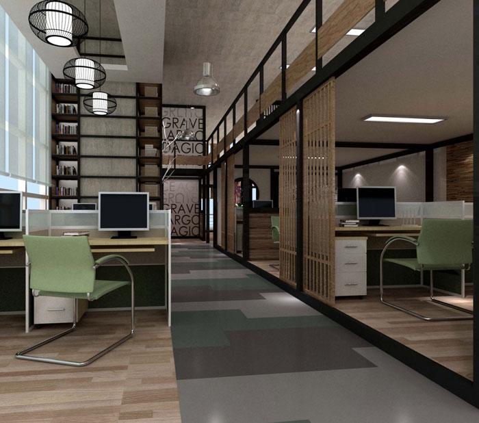 1000平方电子商务办公室办公区域软装设计效果图