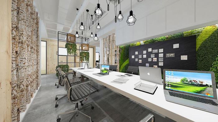 450平方电子商务办公室办公区域软装设计效果图