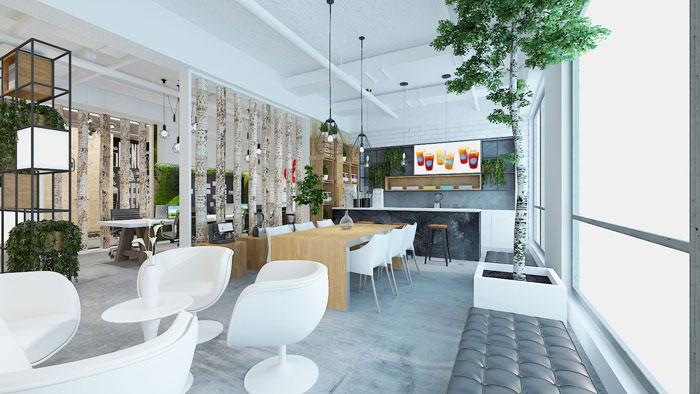 450平方电子商务办公室茶水间软装设计效果图