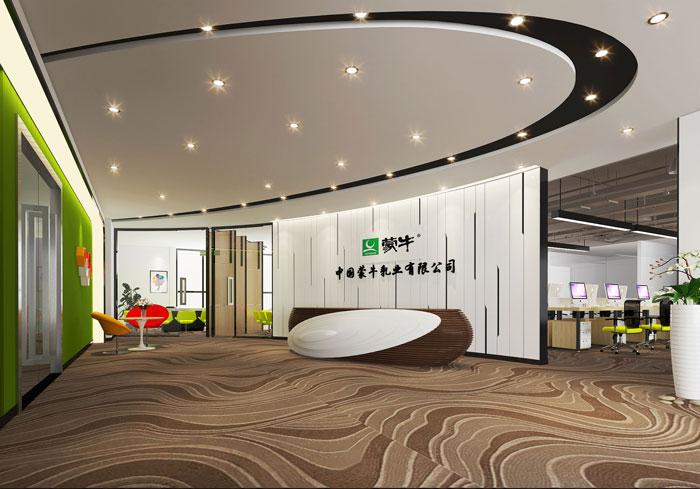 600平方乳业公司办公室前台软装设计效果图