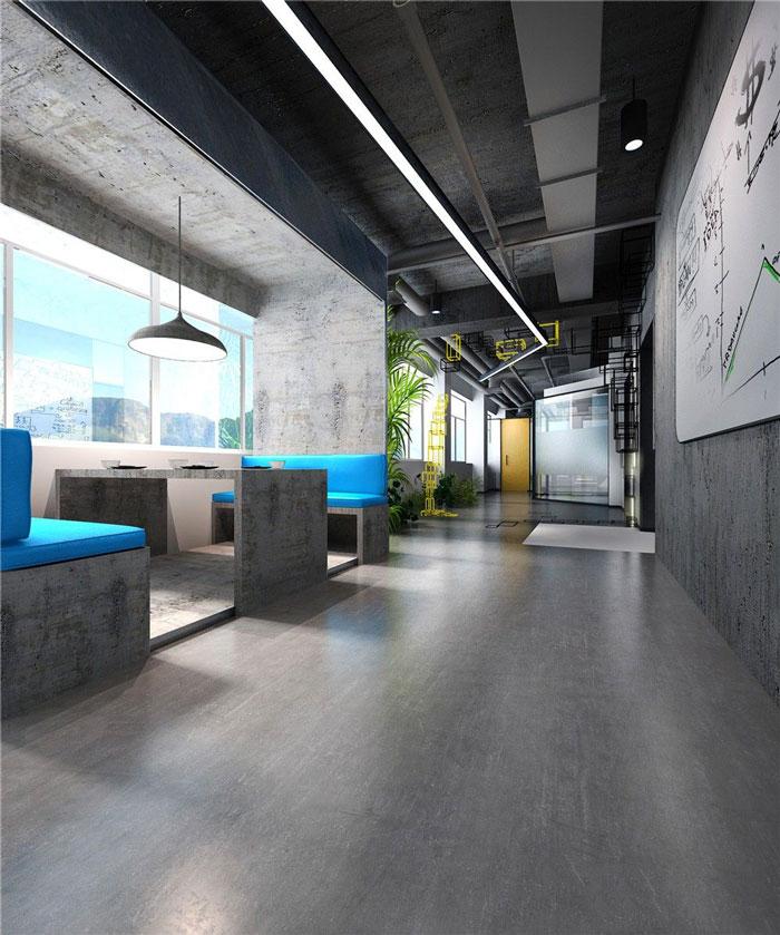1286平方科技公司办公室接待区域软装设计效果图