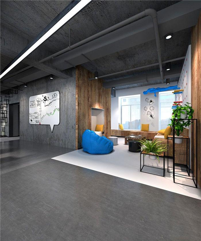 1286平方科技公司办公室休息区域软装设计效果图