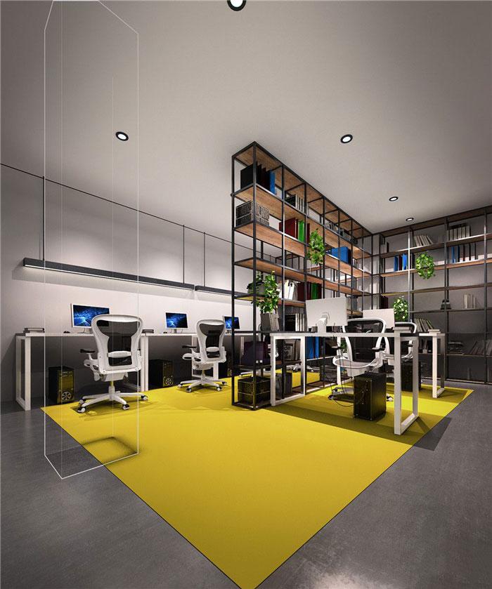 1286平方科技公司办公室办公空间软装设计效果图