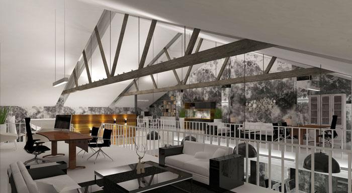 1000平方办公室二楼区域软装设计方案效果图