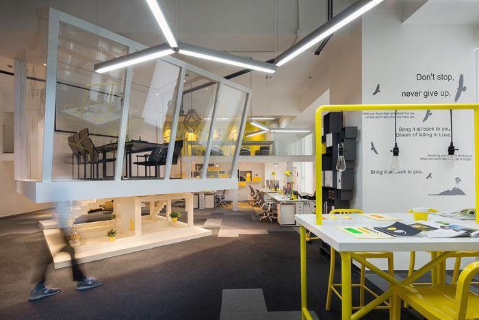 600平方loft风格办公室办公区域装修设计案例效果图