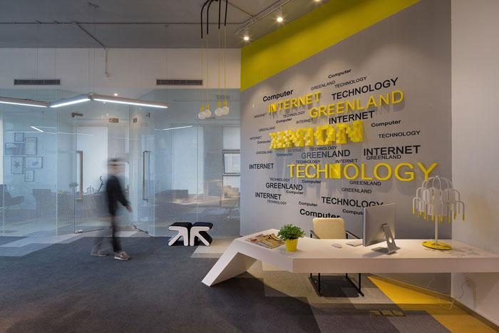 610平方办公室前台软装设计方案效果图