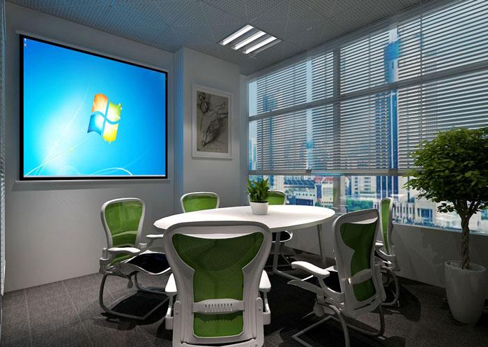 100平方办公室会议室软装设计方案效果图