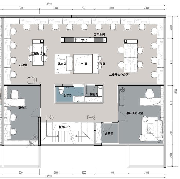 1500平方跃层办公室二层平面图