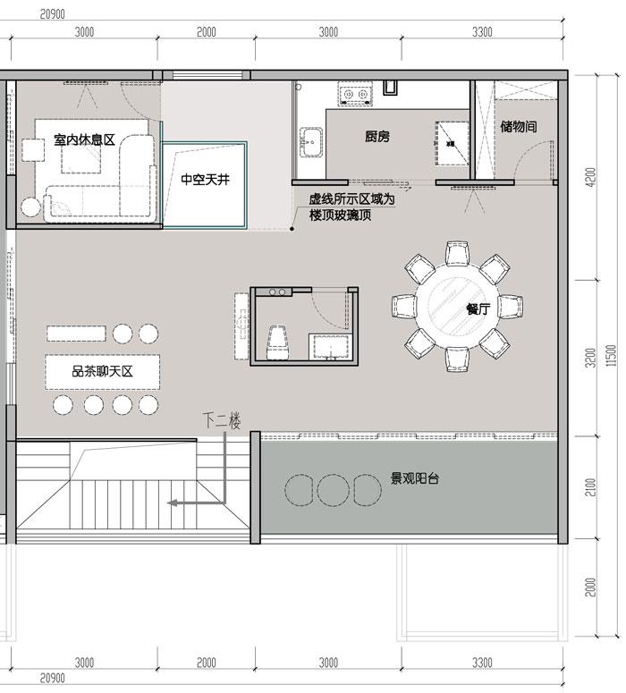 1500平方跃层办公室三层平面图