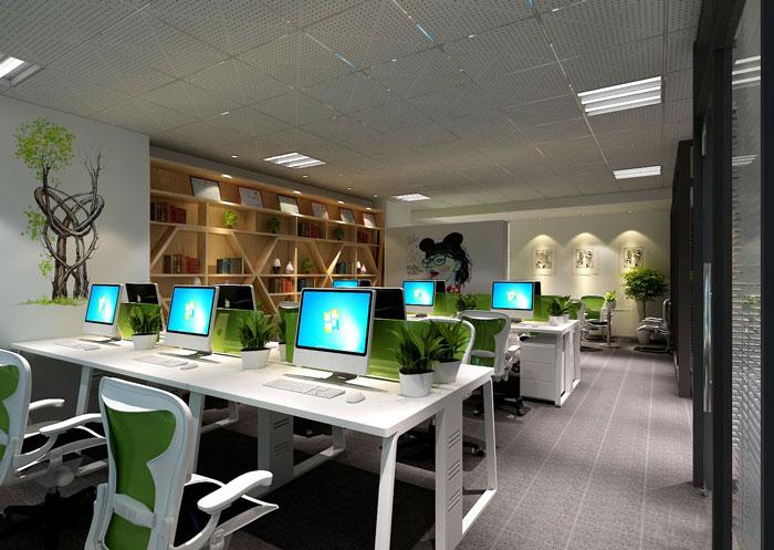 100平方办公室办公区域设计方案效果图
