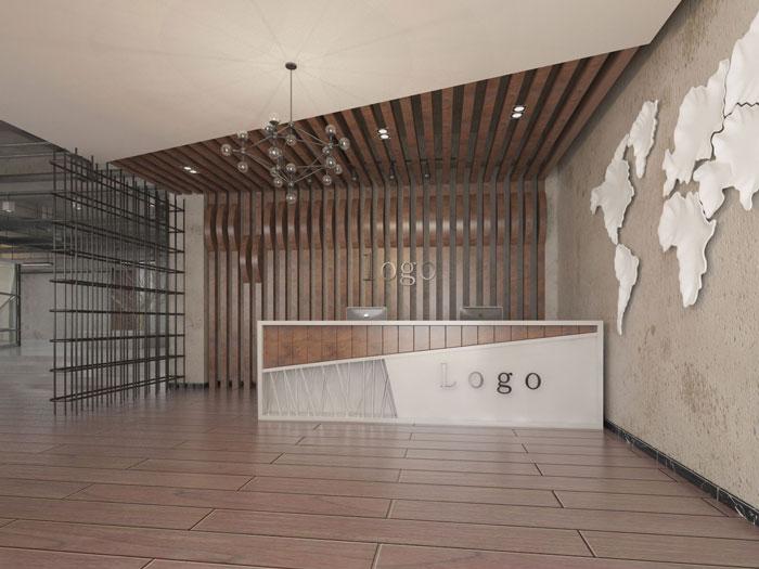 750平方办公室前台软装设计方案效果图