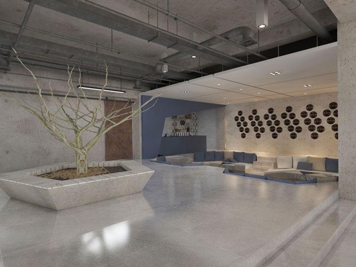 750平方办公室洽谈区域软装设计方案效果图