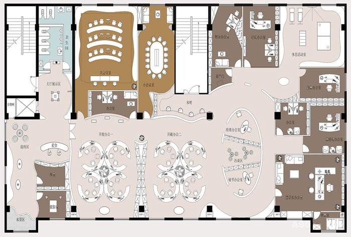 600平方办公室方案设计效果图