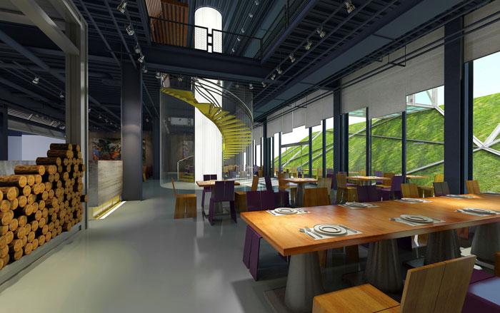 1800平方办公室餐厅设计方案效果图