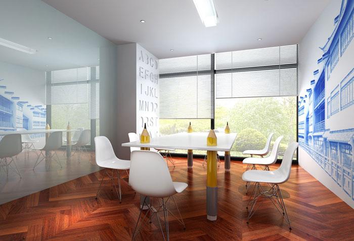 800平方办公室洽谈区域软装设计方案效果图