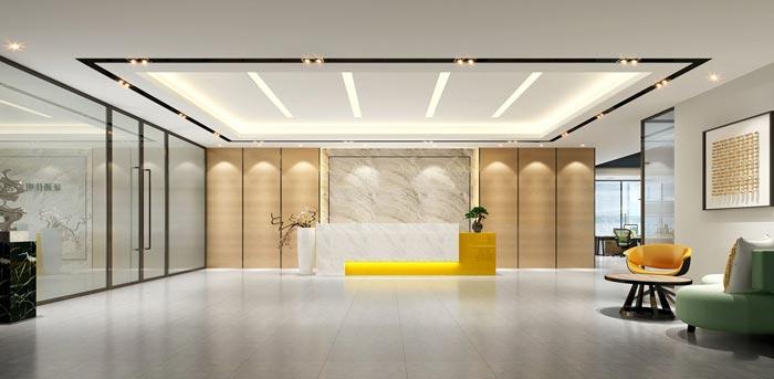 1400平方办公室前台装修设计方案效果图