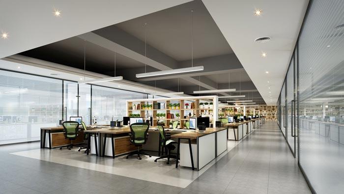 1400平方办公室办公区域装修设计方案效果图