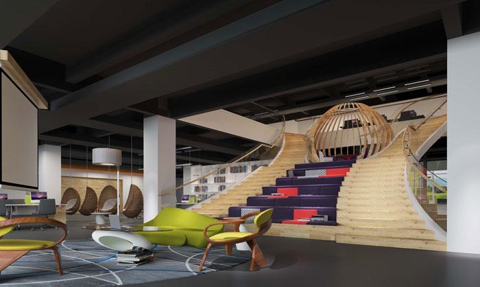 1900平方厂房办公室楼梯区域设计方案效果图