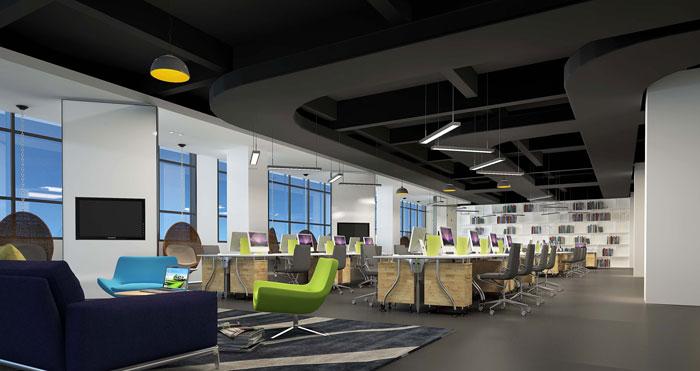 1900平方厂房办公室办公区域设计方案效果图