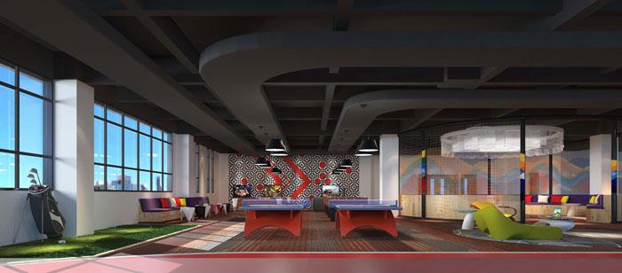 1900平方厂房办公室休息区域设计方案效果图