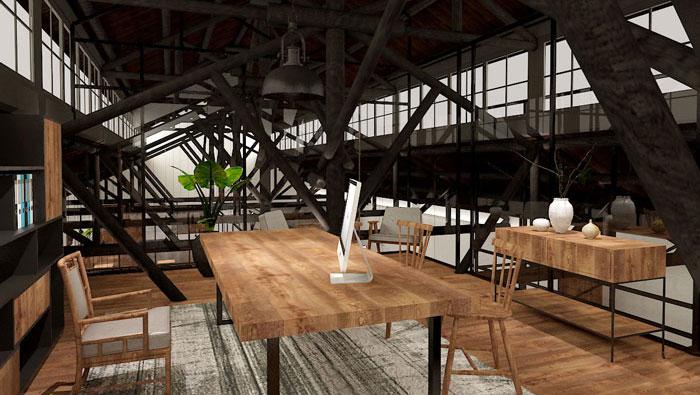 350平方创业公司复式办公室装修设计案例
