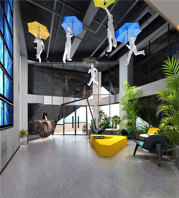 现代简约办公室前台装修设计效果图