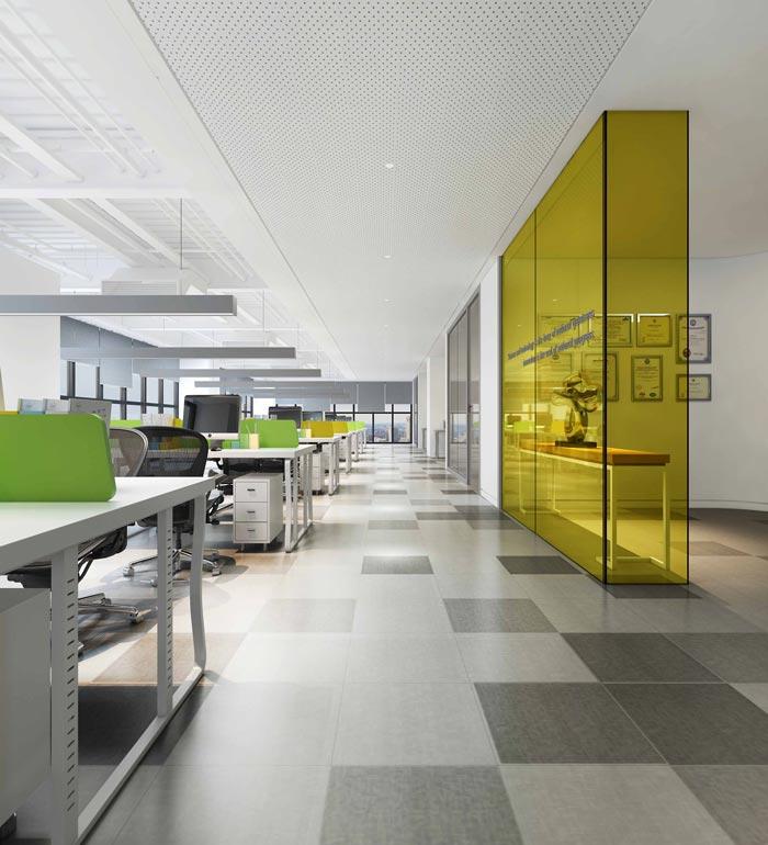 金融租赁公司办公室办公区域软装设计方案效果图
