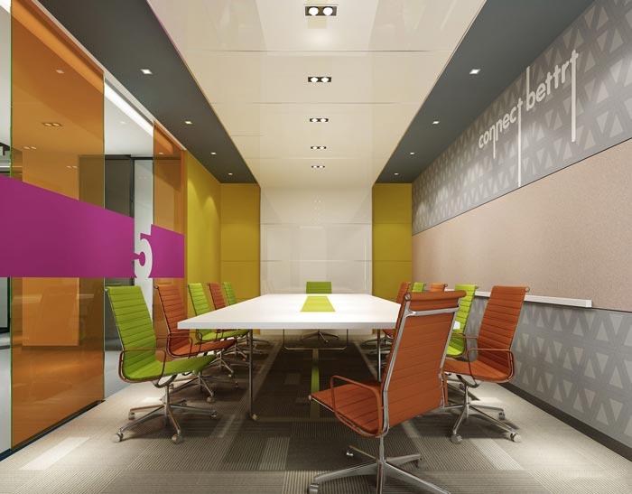 金融租赁公司办公室会议室软装设计方案效果图