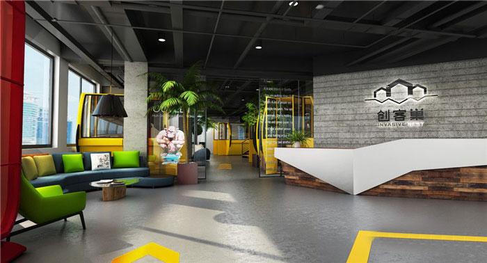 互联网公司办公室前台装修设计案例效果图