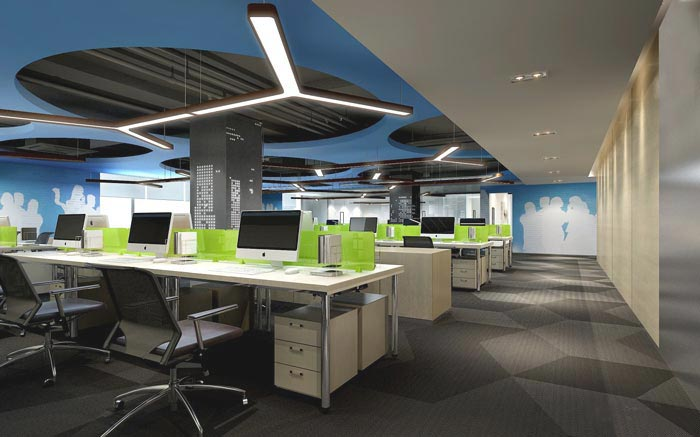 金融咨询服务公司办公室办公区域装修设计效果图