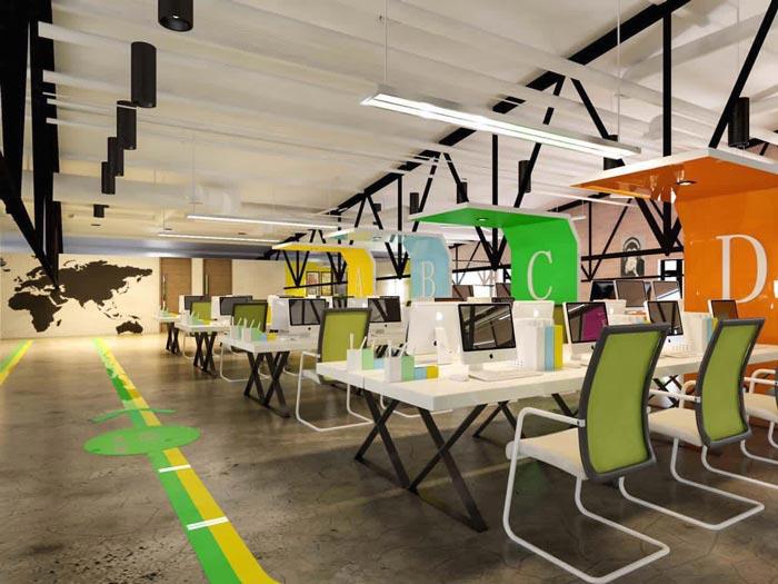 简约时尚办公室办公区域装修设计案例效果图