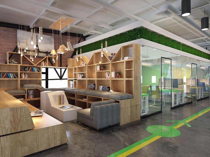 简约时尚办公室休息区域装修设计案例效果图