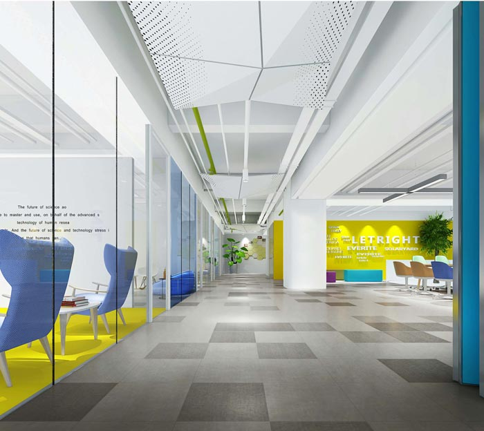 现代简约风格办公室过道装修设计效果图