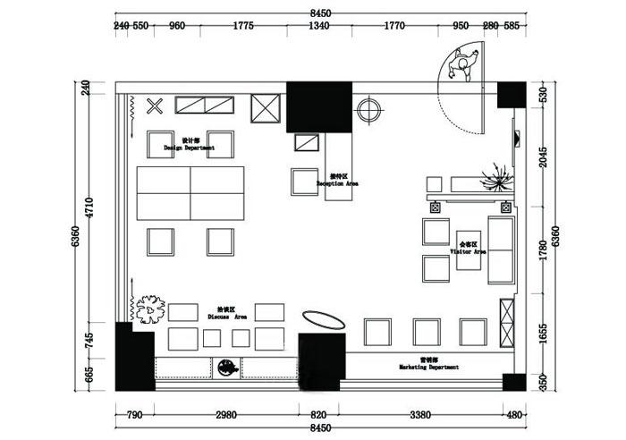 设计事务所办公室设计方案平面图