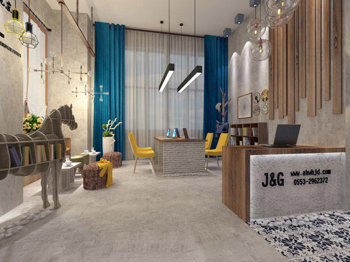 室内设计工作室接待区域装修设计案例效果图