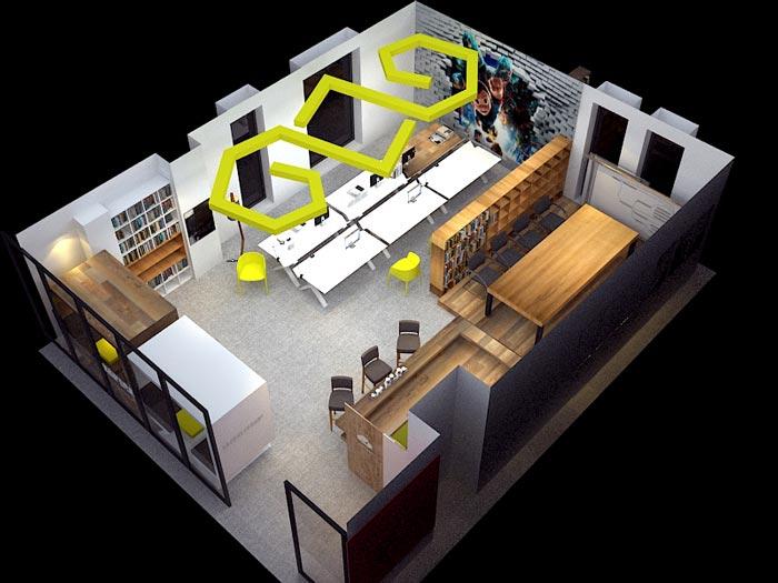 小型动画设计工作室装修设计平面图