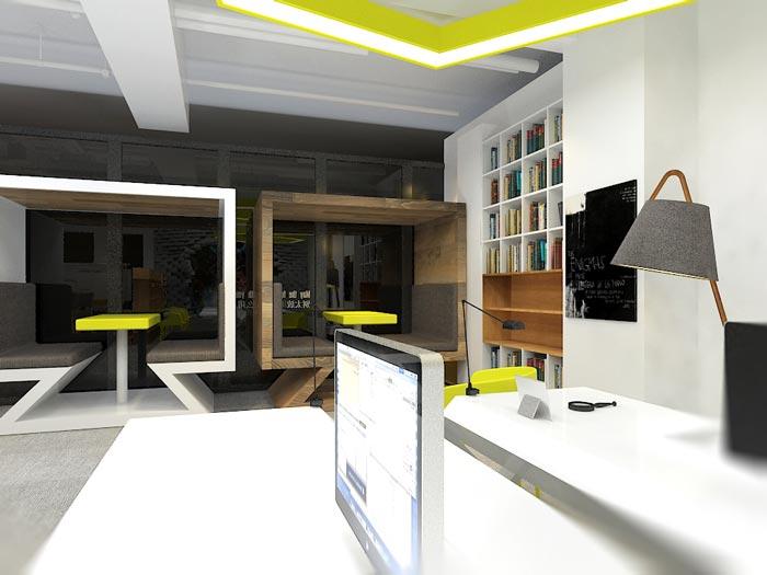 小型动画设计工作室接待区域装修设计效果图