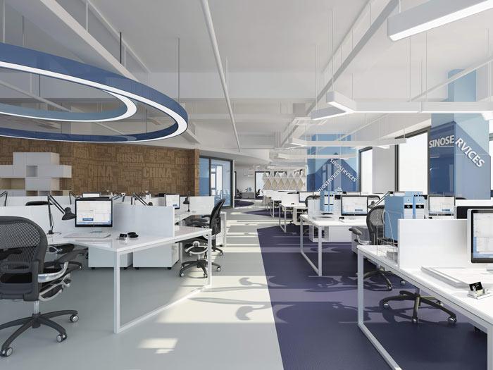 信息科技公司办公室办公区域装修设计效果图