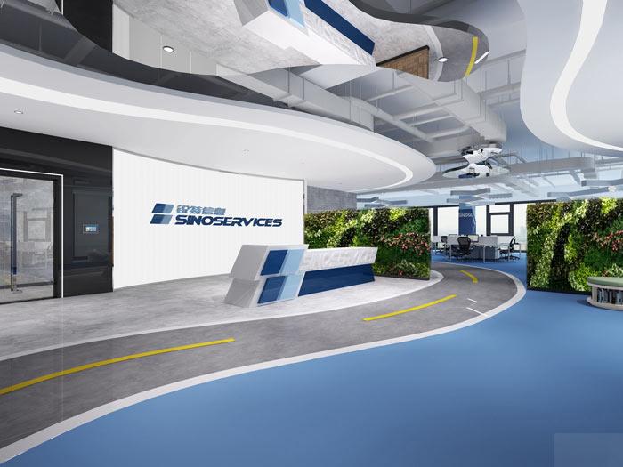 信息科技公司办公室前台软装设计方案效果图
